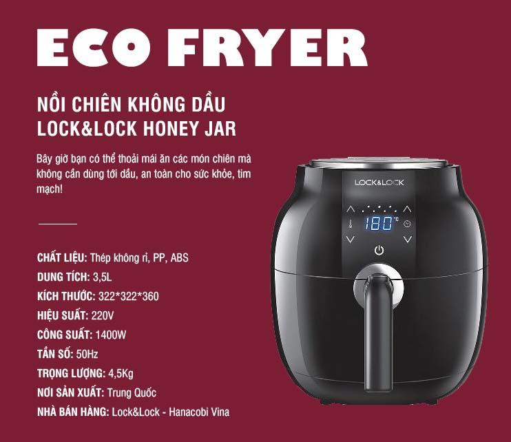 Nồi chiên không dầu Lock&Lock Honey Jar EJF341BLK
